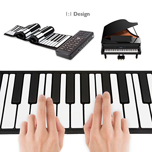 JouerNow RUP002 88 Thickened-Keys Roll Up Piano Synthesizer/Electronic Flexible Silicone Keyboard Hand-rolling Piano with Battery-sustained Pedal, US plug