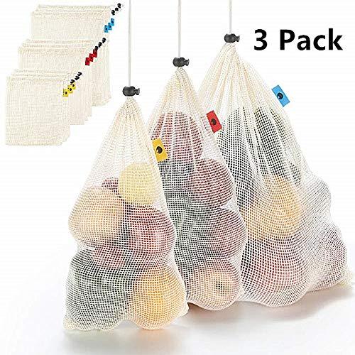 Bolsas reutilizables de malla de algodón con cordón, 100 % algodón ...