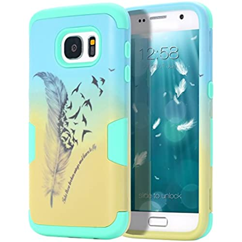 Samsung Galaxy S7 Case,TIANLI Dual Layer Hybrid Protective Case and Impact Resistant Silicon Hard Case Cover for Samsung Galaxy S7,Feather Green Sales