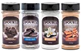 Upouria Coffee Topping Variety Pack - Chocolate, Cookies N Cream, French Vanilla and Cinnamon with Browns Sugar - 5.5 Ounce Shakeable Topping Jars - (Pack of 4)