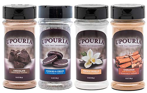Upouria Coffee Topping Variety Pack - Chocolate, Cookies N Cream, French Vanilla and Cinnamon with Browns Sugar - 5.5 Ounce Shakeable Topping Jars - (Pack of ()