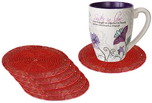 (SKAVIJ Handmade Decorative Unique Design Glass Beaded Round Table Coaster Set for Drinks Absorbent, Beverages, Wine Glasses (red, 6))