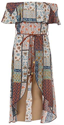 BluNight Collection Big Girls Cols Shoulder Multi Floral Romper Jumpsuit Maxi Dress Multi Floral 14 (2J1K42S)