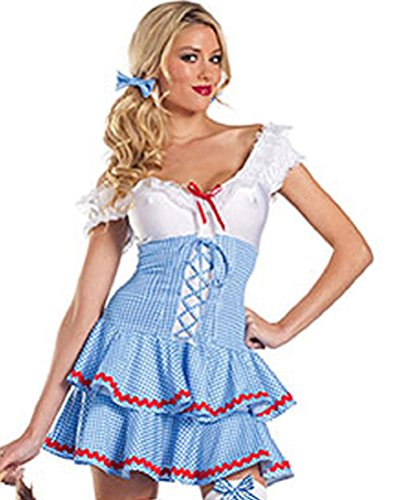 [V28 Women's Cosplay Halloween Fancy Dress Costume Many Styles (ONE SIZE, Maid-Blue)] (Sexy Fairy Halloween Costumes)