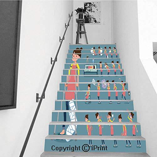 baihemiya stickers 13Pcs Stair Sticker Decals 3D Creative Building Stair Risers Tiles Wallpaper Mural Self-Adhesive,Flat Type Ballet Bun Hair Apron mom ()