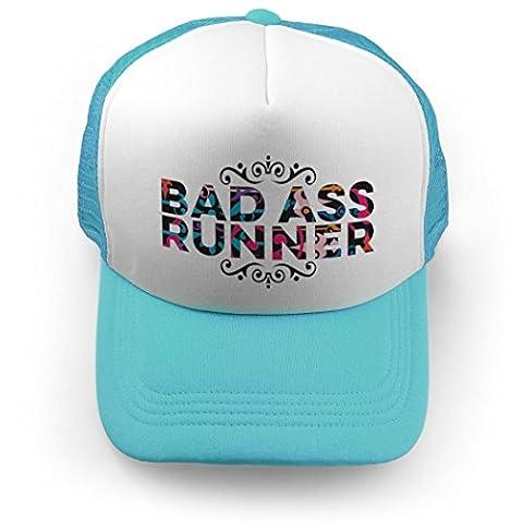 Bad Ass Runner Trucker Hat | Running Hats by Gone For a Run | Carolina Blue (Bad Runner)