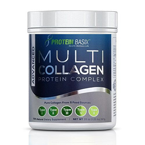 Advanced Multi Collagen Protein Complex | 72 Servings | Type I, II, III, V and X | Premium Blend of Hydrolyzed Grass-Fed beef bone broth, Chicken, Wild Fish and Eggshell Membrane Collagen - Unflavored