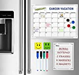 Refrigerator Magnetic Calendar Monthly Dry Erase Whiteboard Planner 16 x 11.75 IN BONUS Notepad Four Markers and Round Magnet Holder Sets & Two Smiley Erasers Large Kitchen Organizer EASY WRITE & WIPE