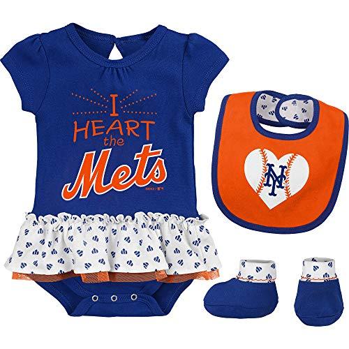 Outerstuff MLB Newborn & Infants Girls Baseball Girl Creeper, Bib, Bootie Set (0/3 Months, New York Mets)