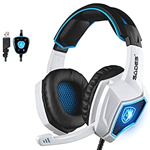 Yanni 2016 Sades SPIRITWOLF USB Version 7.1 Surround Sound Stereo Gaming Headset PC Computer Headphones Over Ear with Mic, Noise Reduction, Volume Control, LED For Gamers(White Black)