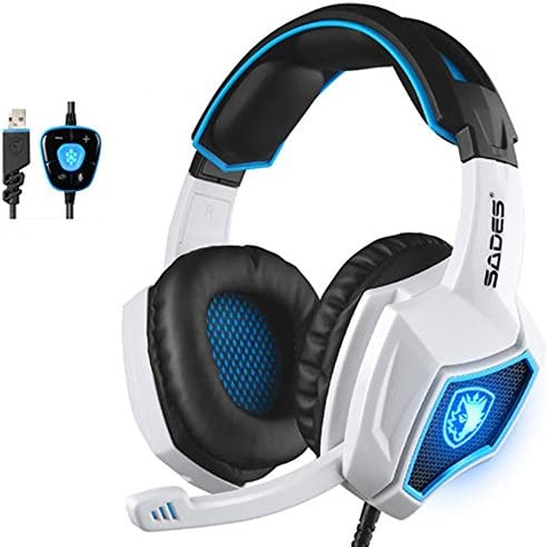 Yanni Sades SPIRITWOLF USB Version 7.1 Surround Sound Stereo Gaming Headset PC Computer Headphones Over Ear with Mic, Noise Reduction, Volume Control, LED for Gamers White Black