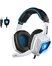 Yanni Sades SPIRITWOLF USB Version 7.1 Surround Sound Stereo Gaming Headset PC Computer Headphones Over Ear with Mic, Noise Reduction, Volume Control, LED for Gamers(White Black)