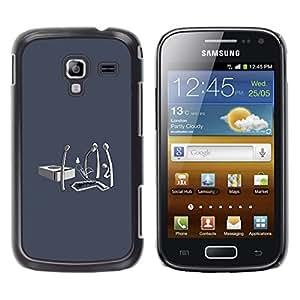 CASEX Cases / Samsung Galaxy Ace 2 I8160 Ace II X S7560M / Matchstick Funeral - Funny # / Delgado Negro Plástico caso cubierta Shell Armor Funda Case Cover Slim Armor Defender