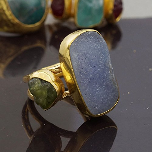 Sterling Silver 925k Unique Blue Druzy Ring W/ Rough Moss Green Peridot 24k Gold Vermeil By Omer Size 8.25 ()