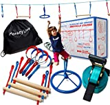 Ninja Warrior Training Equipment Kids 40' Feet | W/ Spinner | The Perfect Outdoor Ninja Line Hanging Obstacle Course | American Ninja Warrior Obstacle Kit