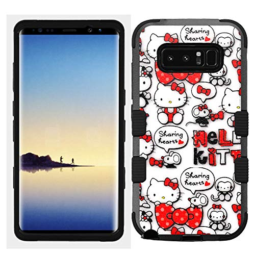 Hello Kitty Hard Case - for Galaxy Note 8, Hard+Rubber Dual Layer Hybrid Heavy-Duty Rugged Impact Cover Case - Hello Kitty #HRT