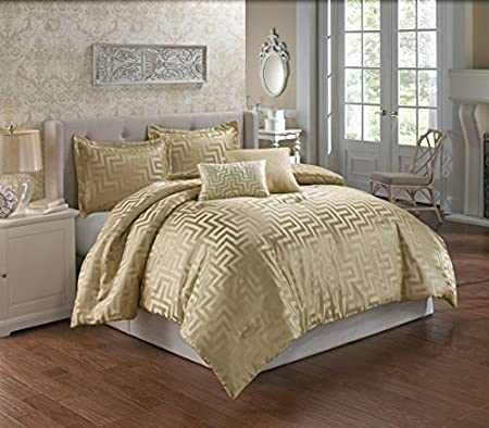 King Riverbrook Home 77349 Wells Comforter Set Gold 5-Piece
