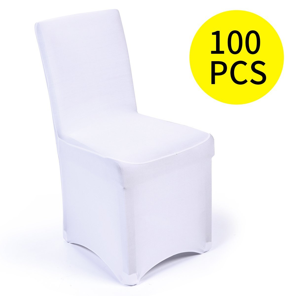 JAXPETY Set of 100PCS White Color Polyester Spandex Banquet Wedding Party Chair Covers,Flat