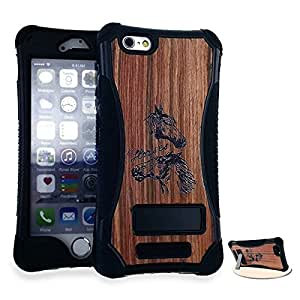 CellTx Kicker Case For Apple (iPhone 6 Plus) Bumper Kick Stand Wood Cover (Laser Cut, Wood, Horses, Black) AT&T, T-Mobile, Sprint, Verizon, Boost Mobile, U.S Cellular, Cricket by mcsharks