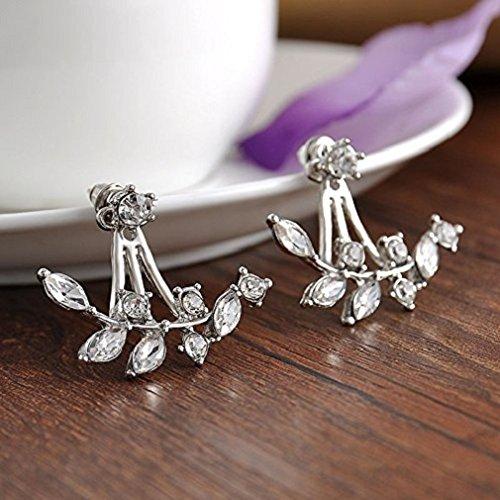Ahaylyn Silver Plated Leaf Crystal Ear Jacket Double Sided Swing Earrings Back Cuff Stud Earring,Silver