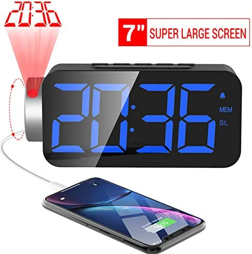 M-Better Projection Alarm Clock,10 FM Radio, Digital Alarm Clock with USB Phone Charger 7 Super Large Digital LED Display Dimmer,180 Rotable Clearly Projection Clock for Bedrooms Ceiling 12 24H