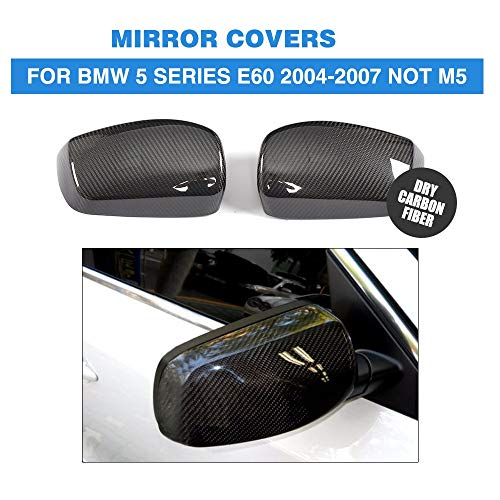 - Pukido Dry Carbon Fiber Rear View Mirror Covers Side Wings Caps Car Sticker for BMW 5 Series E60 Sedan 4 Door 04-07 Not M5 Add On Style