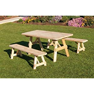 Cedar 8 Foot Picnic Table with 2 Benches Detached - STAINED- Amish Made USA -Redwood