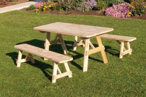 Cedar 8 Foot Picnic Table with 2 Benches Detached – Stained- Amish Made USA -Linden Leaf