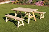 Cedar 8 Foot Picnic Table with 2 Benches Detached – STAINED- Amish Made USA -Linden Leaf Review