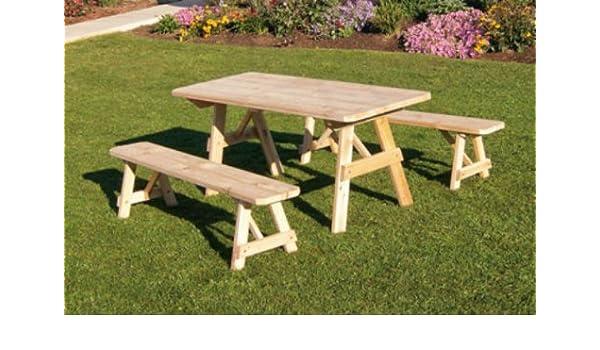 Pleasing Amazon Com Outdoor 4 Foot Traditional Pine Picnic Table Creativecarmelina Interior Chair Design Creativecarmelinacom