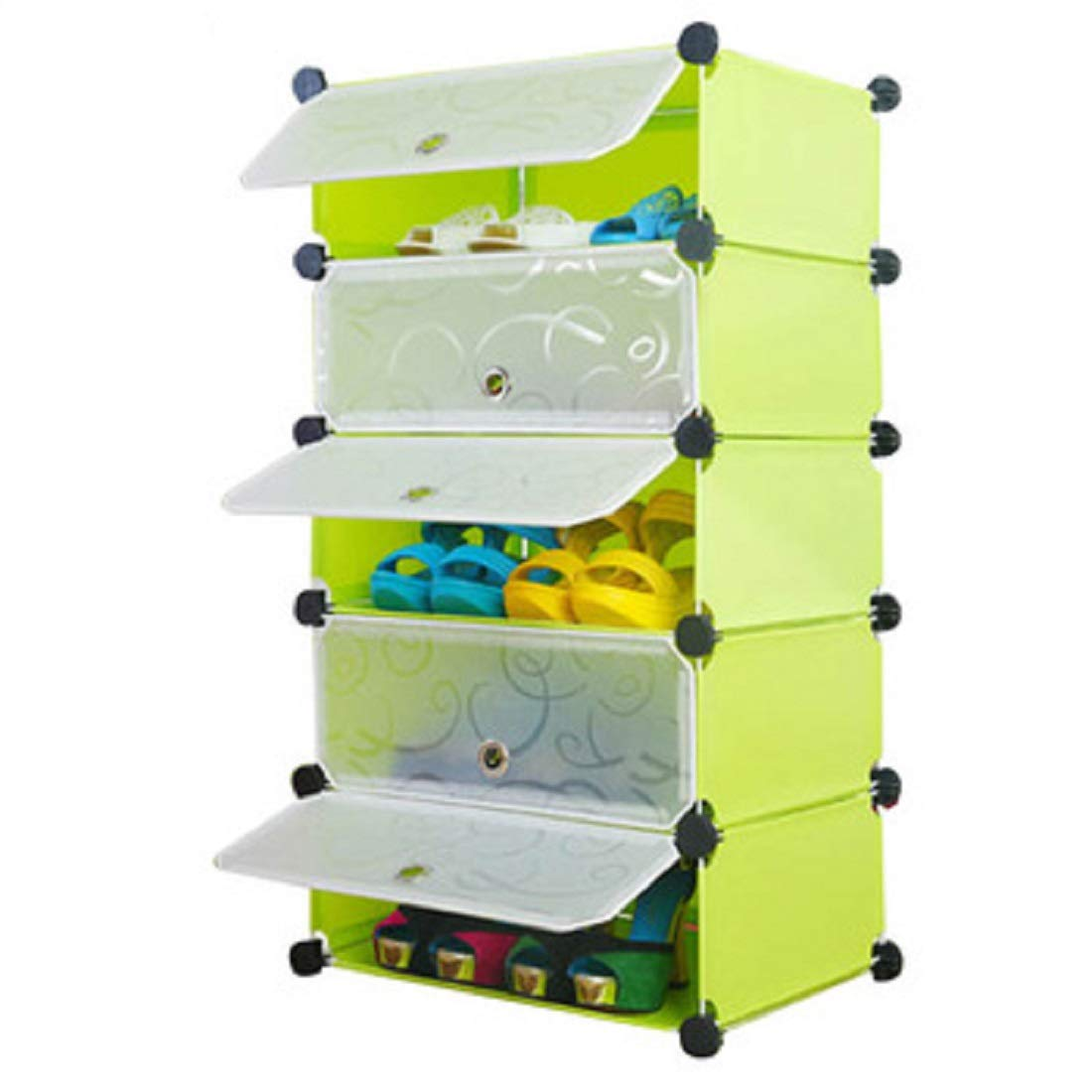 Styleys Plastic Shoe Rack with Cover for Home/Office Cube Organizer Wardrobe Black (5 Cube Green) (B07J4JLQGS) Amazon Price History, Amazon Price Tracker