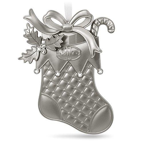 2017 Ornament - Hallmark Keepsake 2017 Silver Christmas Stocking Metal Dated Christmas Ornament