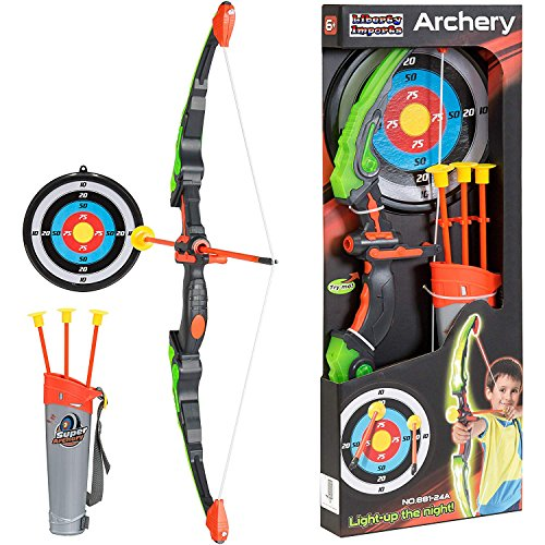 810b43a8bee Amazon.com  Liberty Imports Light Up Archery Bow and Arrow Toy Set for Kids  with 3 Suction Cup Arrows