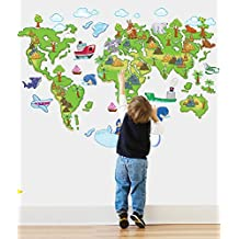 Fange DIY Removable Cartoon World Map Art Mural Vinyl Waterproof Wall Stickers Kids Room Decor Nursery Decal Sticker Wallpaper 47''x31''