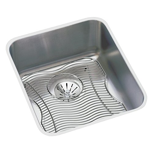 Elkay Lustertone ELUH1316PDBG Single Bowl Undermount Stainless Steel Sink Kit with Perfect Drain - Lustertone Rectangular Undermount Sink