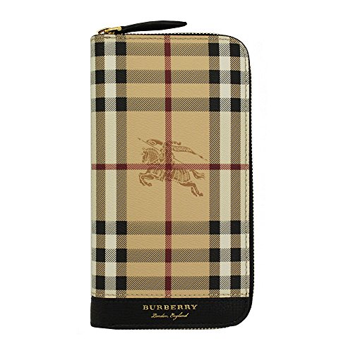Burberry men's genuine leather wallet credit card bifold black by BURBERRY