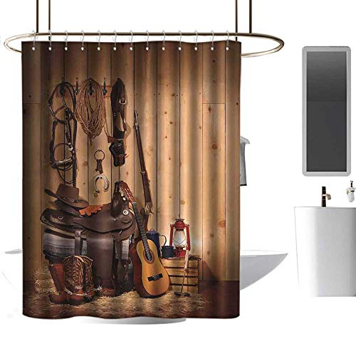 Mannwarehouse Western Shower Curtain with Hooks American Texas Style Country Music Guitar Cowboy Boots USA Folk Culture Print Non Toxic Shower Curtain W66 ()