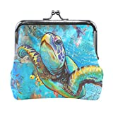 Vipsk Colorful turtle painting PU Leather Wallet Card Holder Coin Purse Clutch Handbag