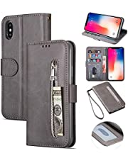 """Zipper Wallet Case with Black Dual-use Pen for iPhone XS Max,Aoucase Money Coin Pocket Card Holder Shock Resistant Strap Purse PU Leather Case for iPhone XS Max 6.5"""" - Gray"""