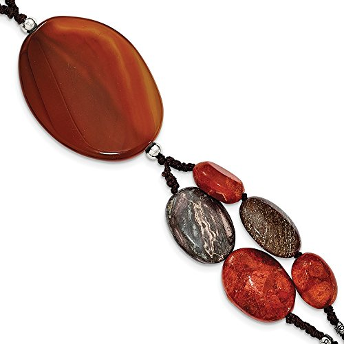 - 925 Sterling Silver Carnelian/reconstituted Coral/red Zebra Jasper Bracelet 7.5 Inch Gemstone Necklace Pendant Charm Natural Stone Multi Layer Fine Jewelry Gifts For Women For Her