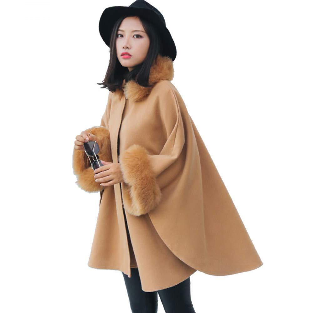 SUIFENG@ Frauen Trenchcoat Außenhandel Winterkleidung Koreanische Version des Pelzkragens Langer Abschnitt Wolle-Wie Wollmantel Temperament Mantel Schal Mantel Weiblich