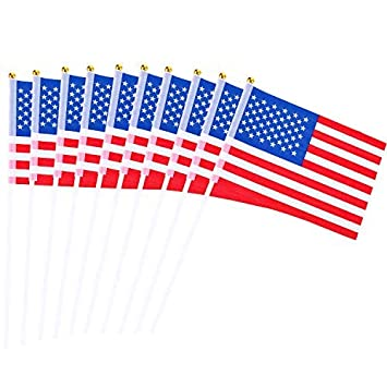 6928638b3985 Amazon.com  Lvcky 50 Pack USA Stick Flag Hand Held Mini Flag Small American  US Flags Vivid Color and Fade Resistant for Party Decorations Parades  Home    ...