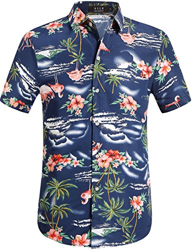 Navy Aloha Hawaiian Shirt - SSLR Men's Flamingos Casual Short Sleeve Aloha Hawaiian Shirt (Large, Navy)