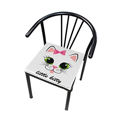 Bardic FICOO Home Patio Chair Cushion Cute Kitten Kitty Square Cushion Non-Slip Memory Foam Outdoor Seat Cushion, 16x16 Inch: Home & Kitchen
