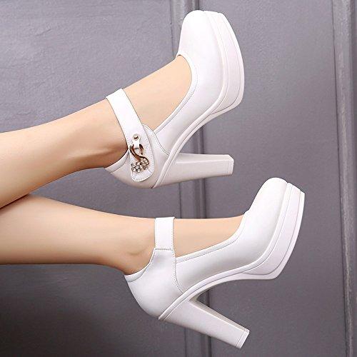 scarpe donna di 36 tacchi La di a spessore i 10cm alti con da molla grande donne bold con singolo pelle testa con scarpe bianca bianco circolare alta scarpe TxT8qUB4