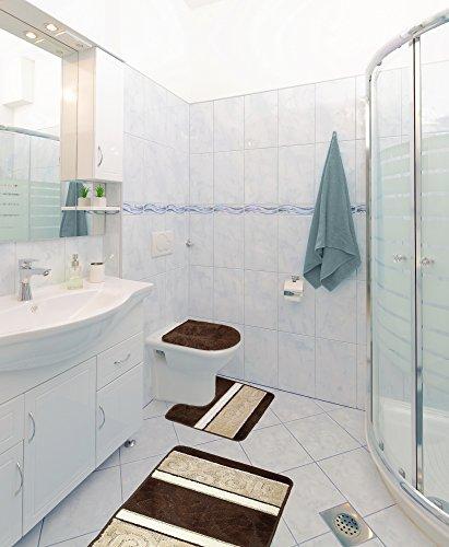 Scroll 3 Piece Bathroom Rug Set, Bath Rug, Contour Rug, Lid Cover (Chocolate) 3 Piece Scroll Bath