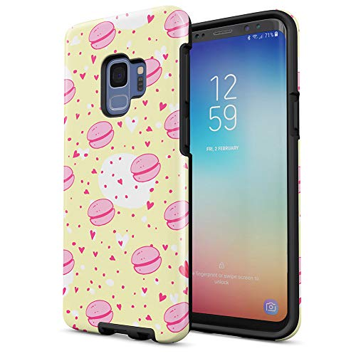 (French Macarons Pastel Love Hearts Tumblr Pattern Samsung Galaxy S9 Silicone Inner/Outer Hard PC Shell Hybrid Armor Protective Case Cover)