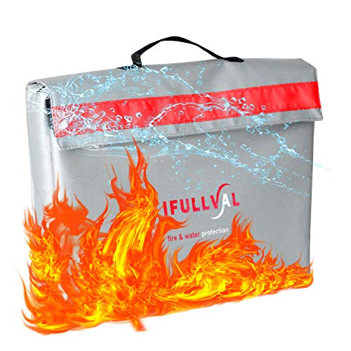 Fire Resistant Document Bag with Red Reflective Band - Waterproof and Fireproof Holder That Can Also Store Money, Laptops, Important Documents, Passports, and Valuables, Large Size,