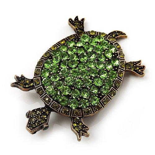 Broche Tortue cristal vert (métal ton bronze)