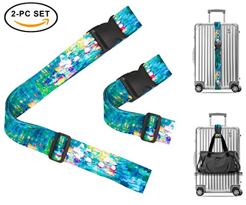 Claude Monet Water Lilies VI Travel Luggage Strap Suitcase Security Belt. Heavy Duty & Adjustable. Must Have Travel Accessories. TSA Compliant. 1 Luggage Strap & 1 Add A Bag Strap. 2-Piece Set. by One In A Millionaire